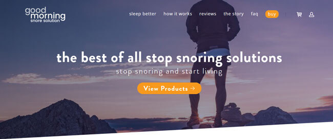 Good Morning Snore Solution homepage