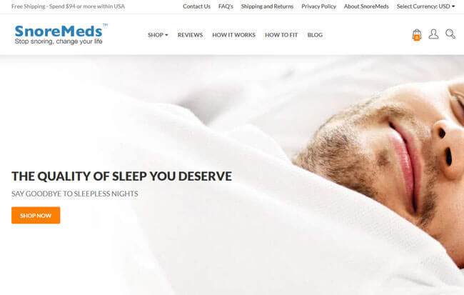 SnoreMeds homepage