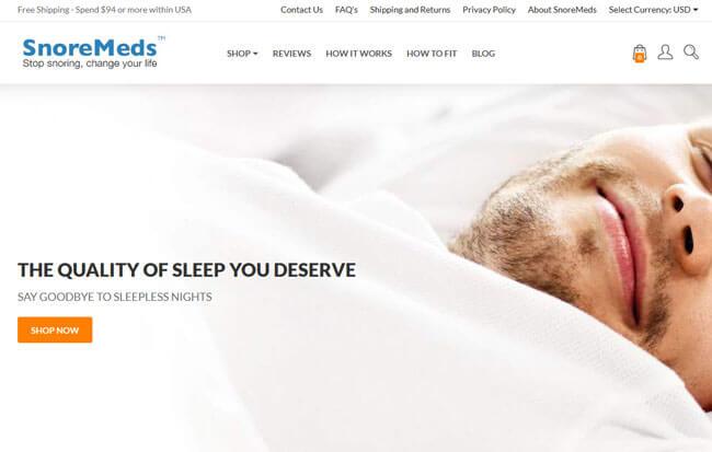 SnoreMeds homepage
