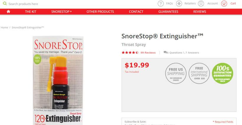 Snore Stop Extinguisher homepage