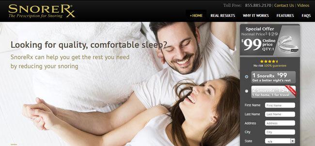 SnoreRx homepage