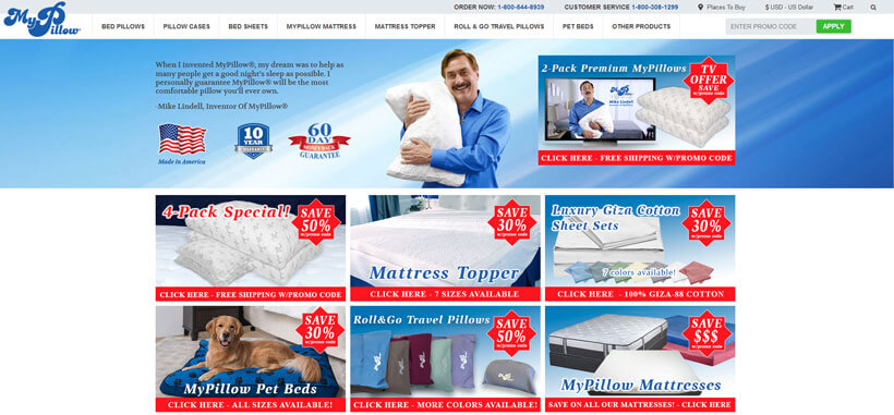 MyPillow homepage