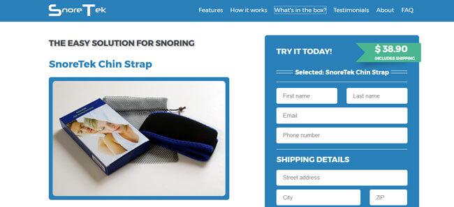 SnoreTek Chin Strap homepage