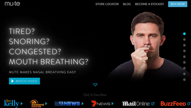 Mute Snoring screenshoot homepage