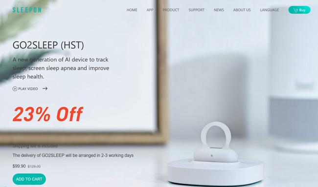 SLEEPON-Go2Sleep printscreen homepage